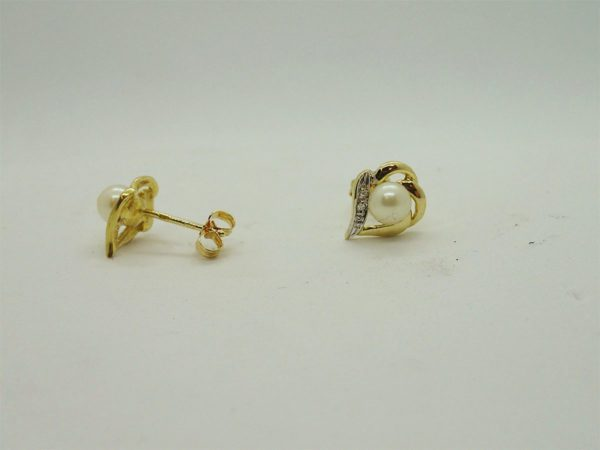 Boucles d'oreilles perles de culture d'occasion en or bicolore 18k, 750/000