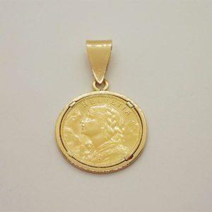 Pendentif porte piece en or jaune 18k