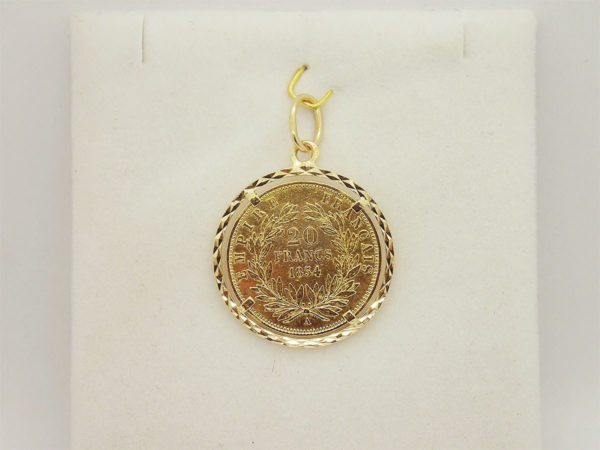 Pendentif en or jaune porte pièce ( 20 francs ) napoleon lll 1854 or