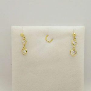 Boucles d'oreilles coeur d' occasion en or jaune 18k