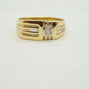 Bague chevalière d' occasion en or jaune 18k