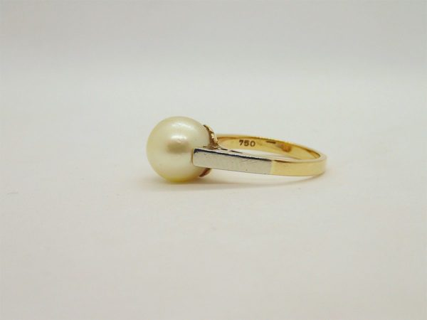 Bague vintage d' occasion en or bicolore 18k
