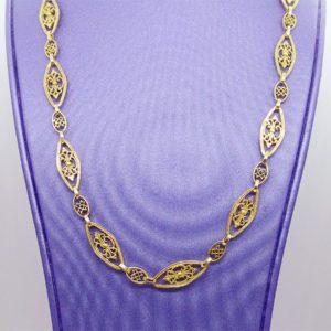 Collier or jaune 18k 750/000 maille filigrane d' une longueur de 44.5cm et d' une largeur maximale de 6.55mm