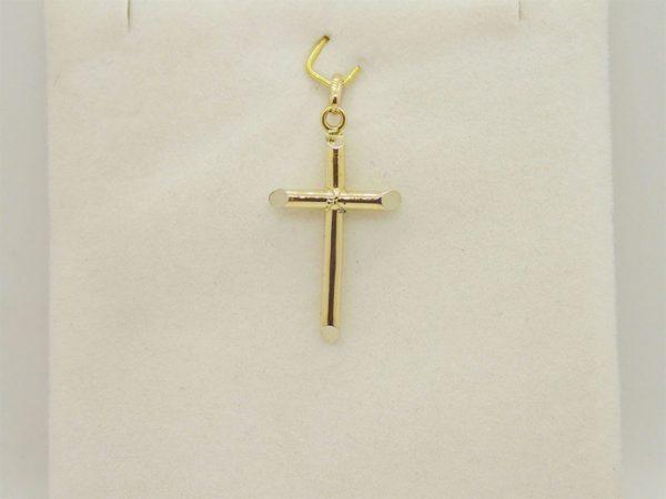 Pendentif religieux croix or jaune 18k