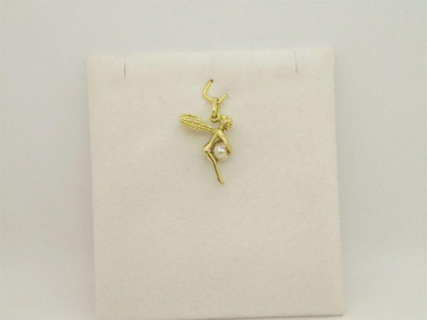 Pendentif fée avec perle naturelle d' occasion en or jaune 18k