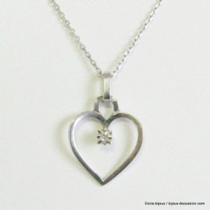 Collier Maille Forcat Or Blanc Et Coeur Diamant