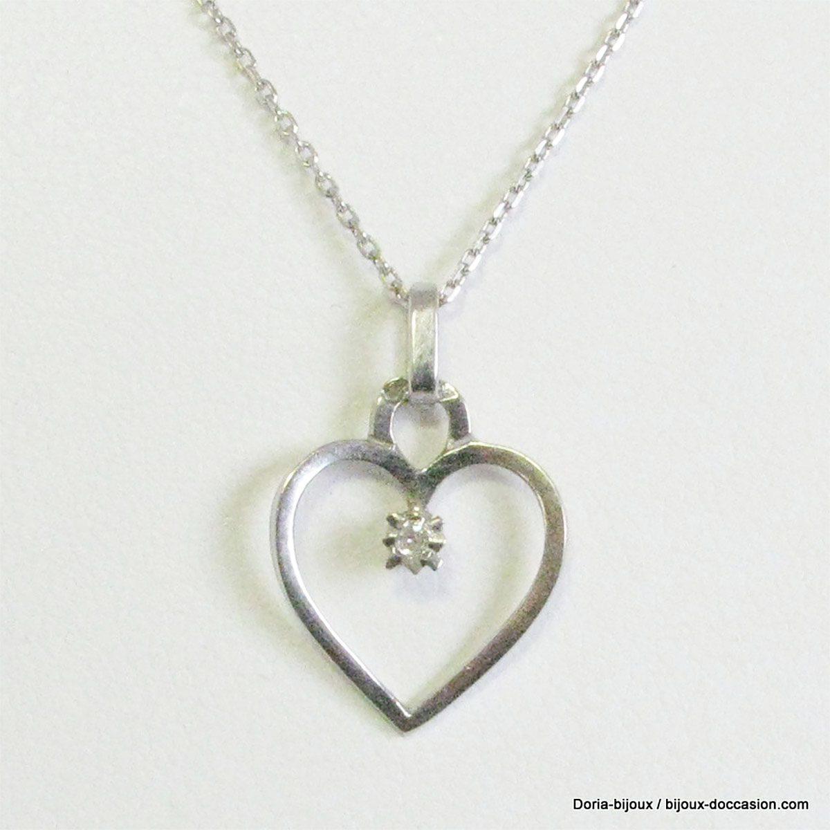 Collier Maille Forcat Or Blanc Et Coeur Diamant