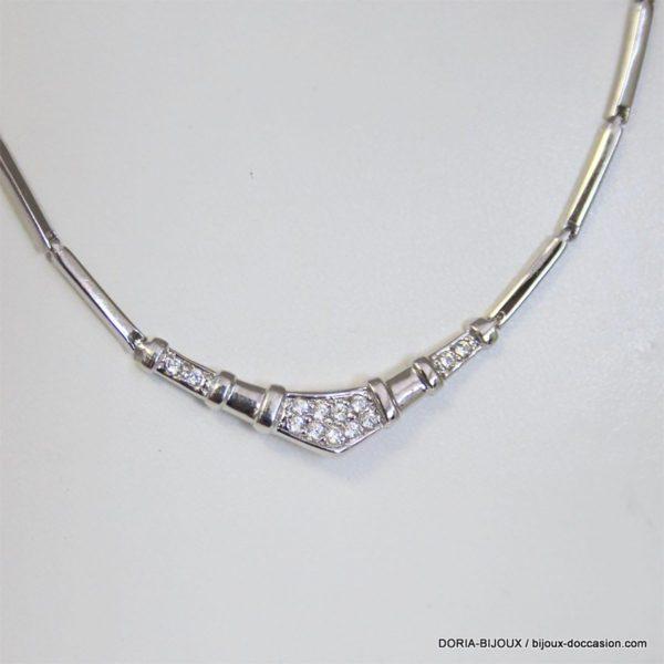 Collier Or Gris 18k 750/000 13 Diamants 13.9grs