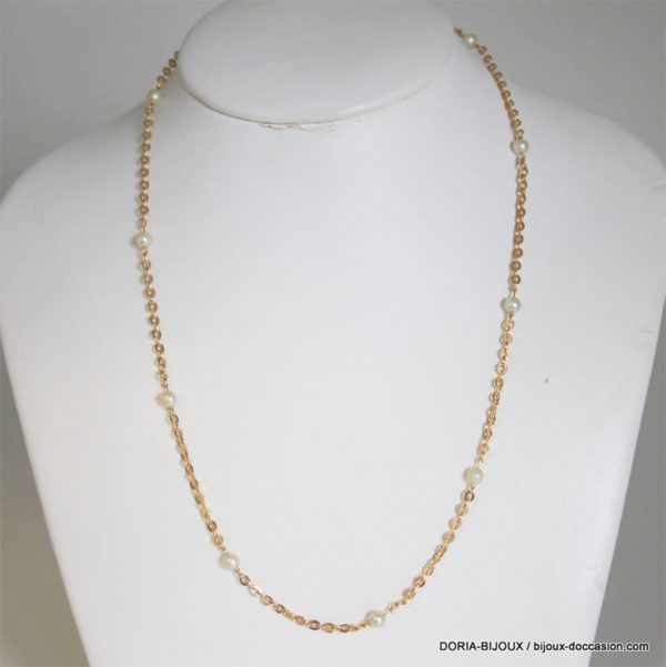 Collier Or Jaune 750/000  Perle 6.5 Grs