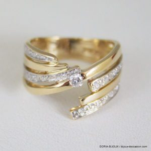Bague Or Jaune 18k 750 - Diamants - 6.6 Grs- 54
