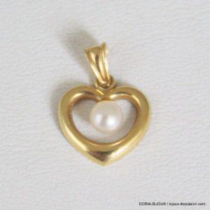 Pendentif Coeur Perle Or 750/000- 0.80grs