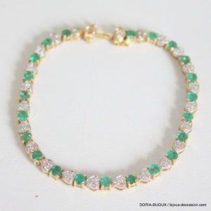 Bracelet Or 18k, 750 Emeraudes Diamants -11.9grs