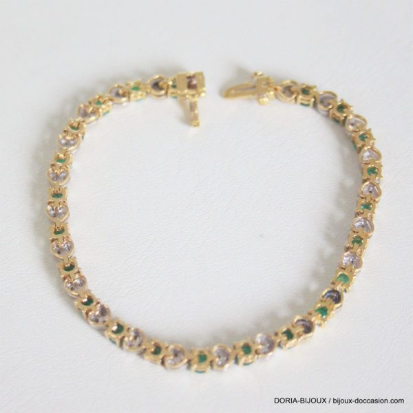 Bracelet Or 18k, 750 Emeraudes Diamants -11.9grs