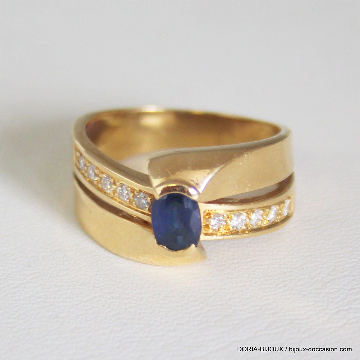 Bague Or 18k 750 Saphirs Diamants 5.7grs - 55