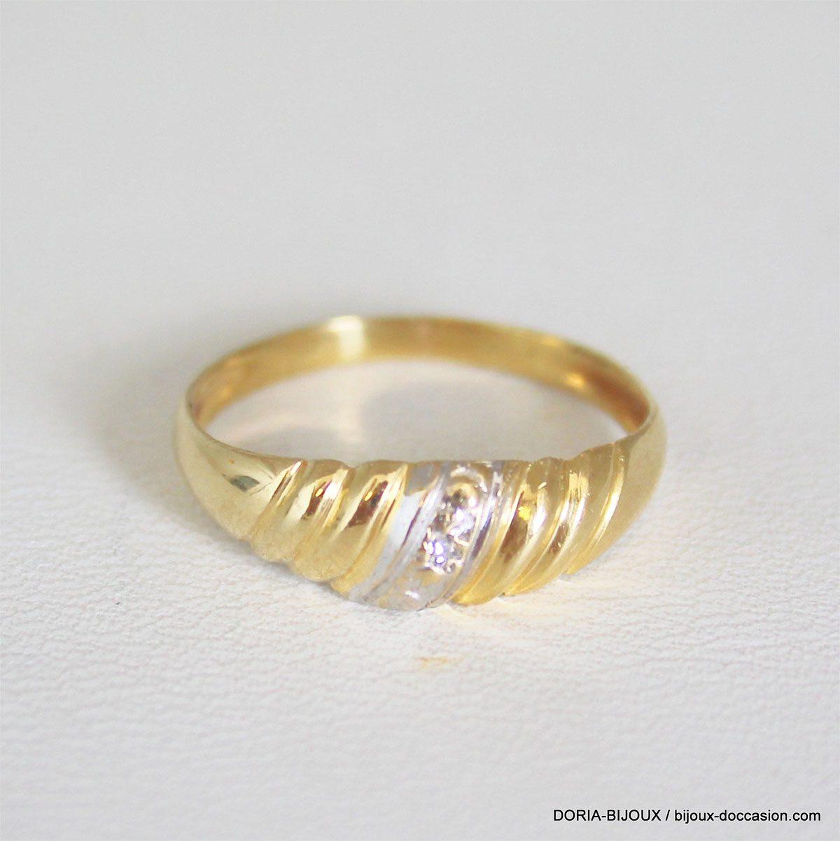 Bague Or Bicolore 750/000 18k 1 Diamant 1.7grs -53