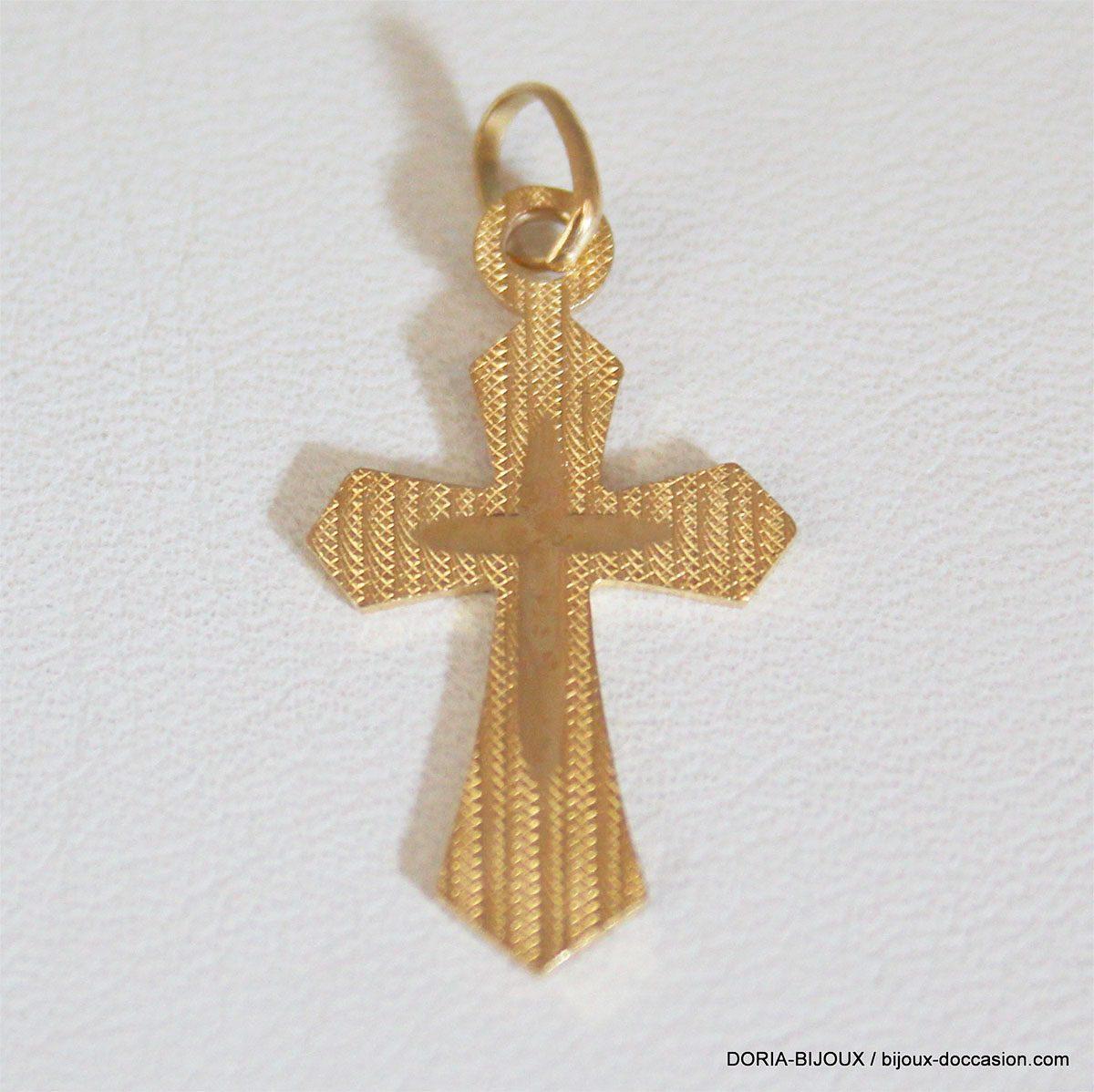 Pendentif Religieux Croix Or 18k 750/000 -1.5grs