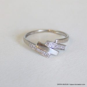 Bague Or Gris 18k 750 Diamants -54- 1.7grs