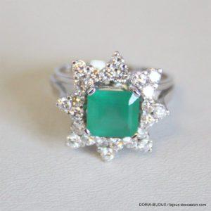 Bague Or 18k 750 Emeraude & Diamants - 6.4grs- 53