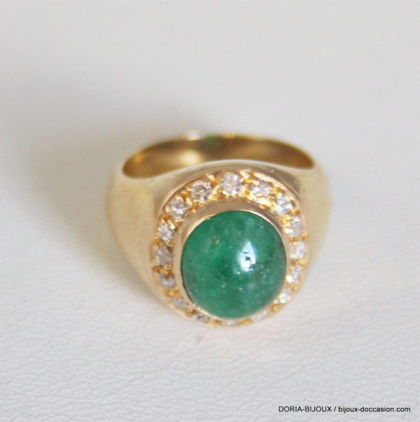 Bague Vintage Or 18k 750 Emeraude 9.1grs- 51