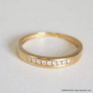Bague Demi  Alliance Or 750 18k 9 Diamants - 51