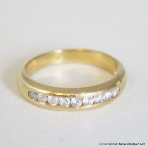 Bague Demi Alliance Or 18k 750 Diamant- 4.4grs- 56