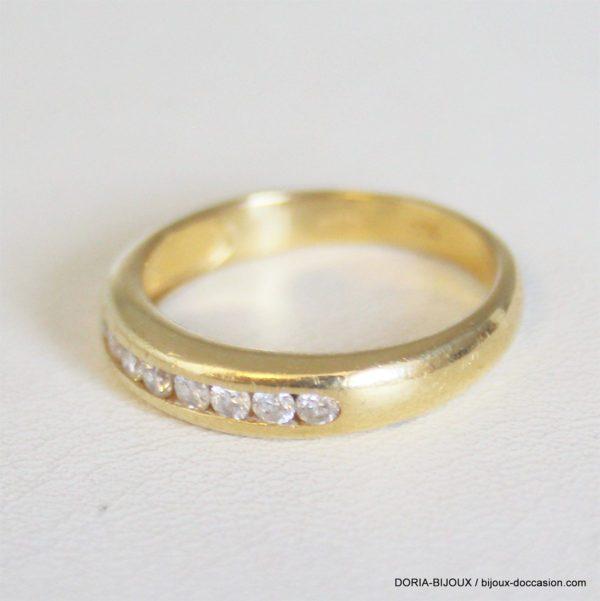 Bague Demi Alliance Or 18k 750 Diamant- 4.4grs- 56