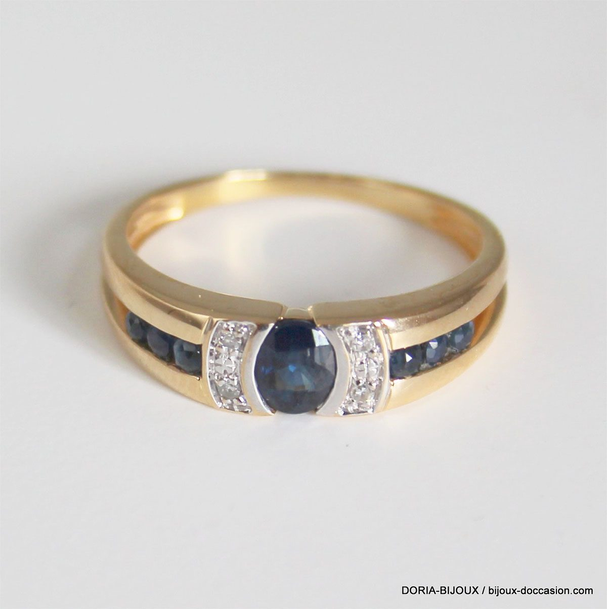 Bague Or 18k Saphir Diamants 2.8grs -54