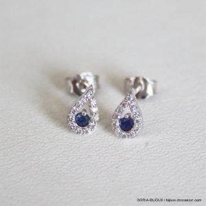 Boucles D'oreilles Or 18k 750 Saphirs Diamants 0.9gr