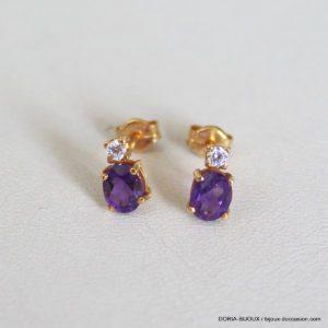 Boucle D'oreilles Or 750 Amethyste Diamants -0.9grs