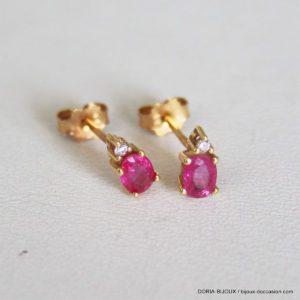 Boucles D' Oreilles Or 18k Rubis Diamants 0.7grs
