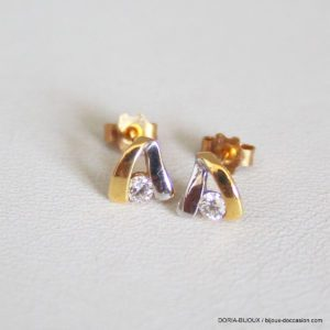 Boucles D'oreilles Or 18k Bicolore Diamants-