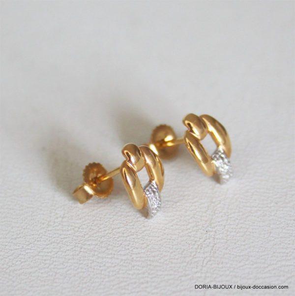 Boucles D'oreilles Or 18k Bicolore Diamants-