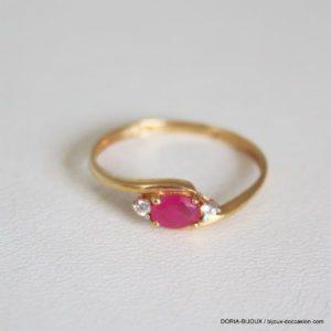 Bague Or 18k 750 Rubis Et Diamants  1.4grs -55