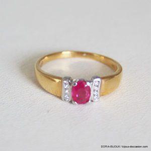 Bague Or 18k 750 Rubis Et Diamants  2.6grs -54