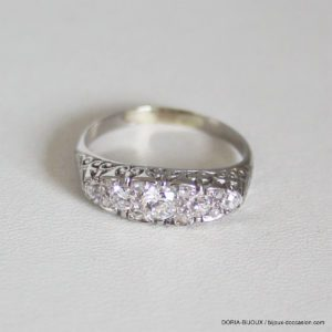 Bague Vintage Or Gris 18k 750 Diamants- 4.2grs- 61
