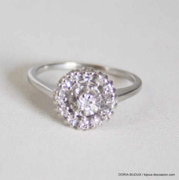 Bague Vintage Or Gris 18k 750 Diamants- 3.5grs- 57