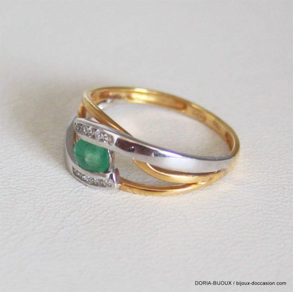 Bague Or 18k 750 Emeraude Diamants  2.83grs -54