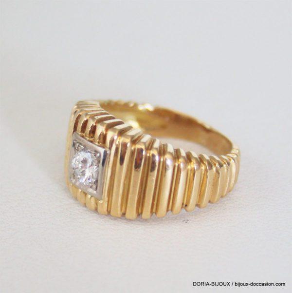 Bague Or 18k 750 Diamant 0.25carats 6.9grs - 50-