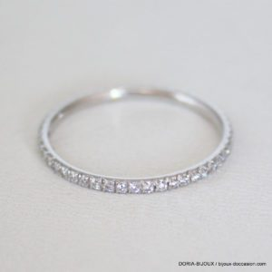 Bague Hermes Or Gris 18k 750 Diamants- 1.2grs- 54