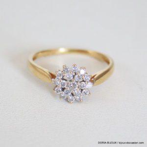 Bague Choux Or Jaune 18k 750 Diamants- 1.8grs- 51