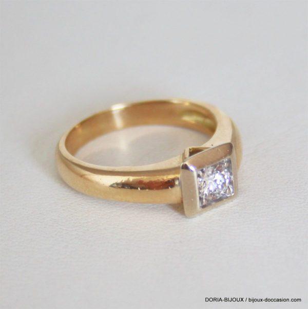 Bague Or 18k 750 Diamant 0.25carats 6.9grs - 55-