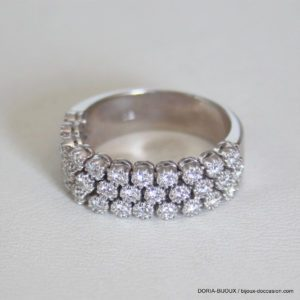 Bague Vintage Or Gris 18k 750 Diamants- 7.7grs- 55