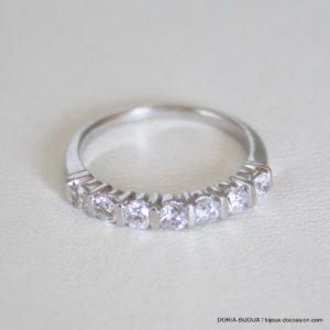 Bague Demi Alliance Or Gris 18k 750 Diamants- 49