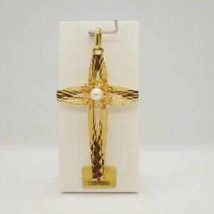 Pendentif religieux croix en or jaune 18k 750/000