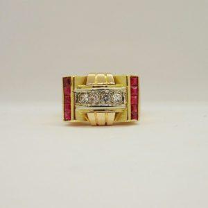 Bague vintage d' occasion en or bicolore 18k, 750/000