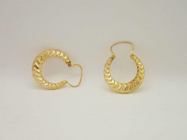 Boucles d'oreilles créoles vintage d' occasion en or jaune 18k, 750/000