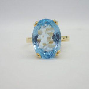 Bague d'occasion or Jaune Topaze Bleu
