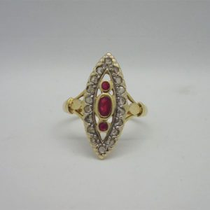 Bague d'occasion Marquise or Jaune Rubis Ecla