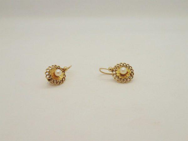Boucles d' oreilles vintage en or jaune 18k, 750/000