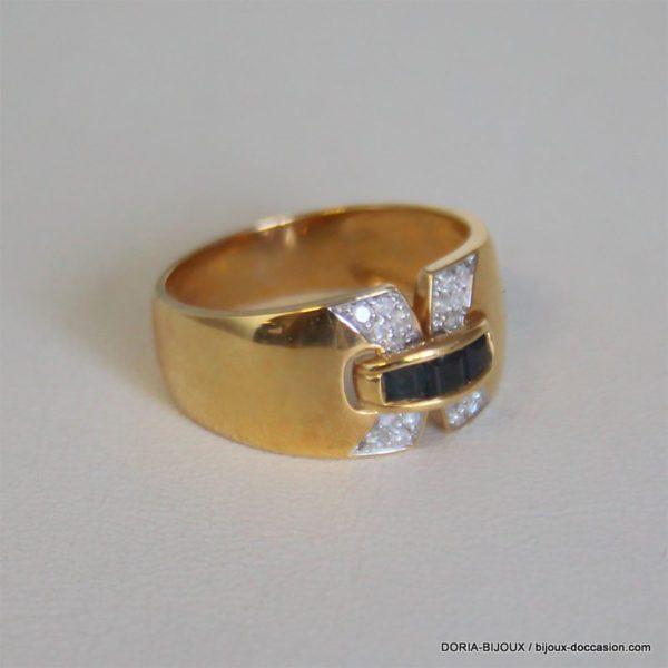 Bague Or Bicolore Saphirs Diamants- 3.9grs-49